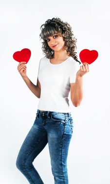Free Young Beautiful Girl Keeps The Heart Stock Image - 18095681