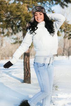 Beautiful Girl On A Walk In A Winter Park, Stock Photos