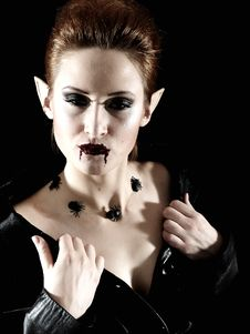 Terrible Vampire Woman With Spiders And Blood Stock Images