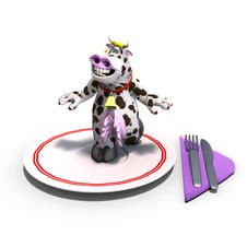 Free Cute And Funny Toon Cow Served On A Dish As A Royalty Free Stock Images - 18096039