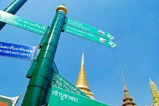 Free Direction Sign For Traveler In Buddha Temple Royalty Free Stock Image - 18096056