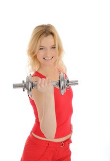 Free Fitness Woman Working Out With Free Weights Royalty Free Stock Images - 18096079