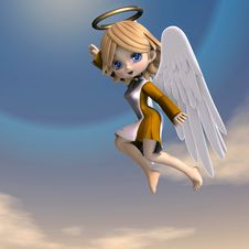 Free Cute Cartoon Angel With Wings And Halo Stock Image - 18096101