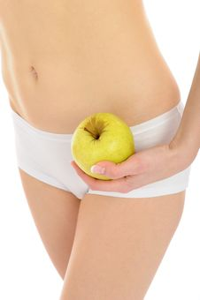 Woman With Beautiful Body And Apple Royalty Free Stock Photo