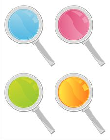 Free Colorful Magnifying Glasses Icons Royalty Free Stock Image - 18096596