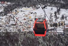 Cable Gondolas With Winter Background Stock Photography