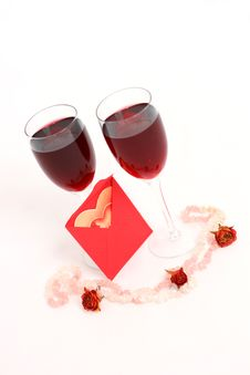 Free Two Glasses Of Red Wine With A Love Message Stock Image - 18097391
