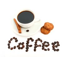 Free Coffee Cup, Cookies And Text Made Of Coffee Beans Stock Photography - 18097522