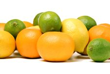 Whole Oranges, Lemons And Limes Stock Images