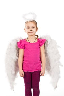 Beautiful Girl In Angel Wings And Nimbus Royalty Free Stock Photography