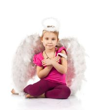 Beautiful Girl In Angel Wings And Nimbus Stock Photo