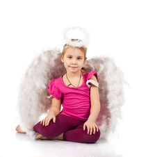 Free Beautiful Girl In Angel Wings And Nimbus Stock Photos - 18098763
