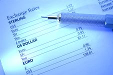 Currency Exchange Rates Stock Photography
