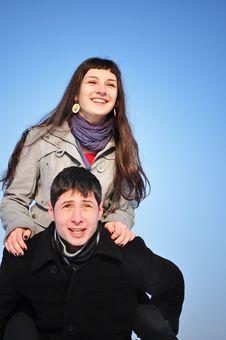 Free Happy Couple On Blue Sky Royalty Free Stock Photos - 18099808