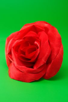 Free Decorative Red Silk Rose On Green Royalty Free Stock Photos - 18099818