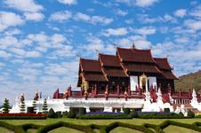 Free Temple On Blue Sky Background In Thailand Royalty Free Stock Image - 18099856