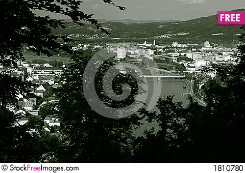 Free View From A Hill Through Trees On Linz B/W Stock Photo - 1810780