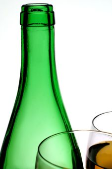 Free Green Wine Bottle & Two Glasses Stock Images - 1810064