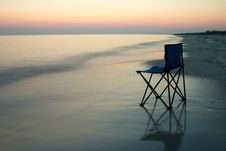 Folding Chair On A Seaside Royalty Free Stock Images