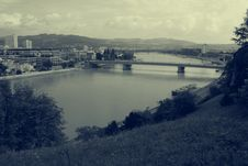 View Over Linz In Coloured Old Style Black And White Royalty Free Stock Photos