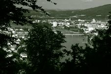 View From A Hill Through Trees On Linz B/W Stock Photo