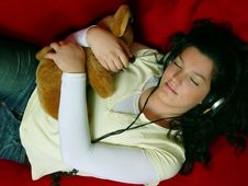 Young Girl Listening Music Stock Photography