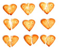 Free Salty Cookies In The Form Of The Broken Hearts 3 Stock Photos - 1811653