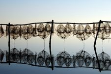 Free Fishing Traps At Sunset Stock Photography - 1812792
