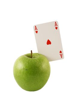 Free Green Apple With The Ace Of Hearts Royalty Free Stock Photography - 1814287