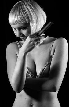 Girl Smoking Cigar Royalty Free Stock Photos