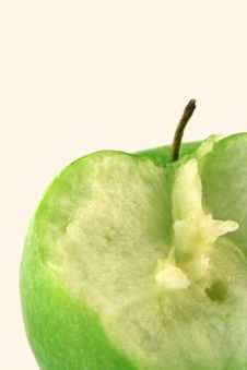 Bited Green Apple Royalty Free Stock Photos