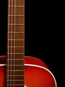 Acoustic Guitar On Black Background 4 Stock Images