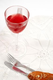 Free Red Glass Of Wine With Fork And Knife Stock Image - 1818781