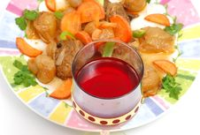 Free Meat Dish With A Red Glass Stock Images - 1818824