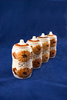 Ceramic Containers For Spices Stock Photography