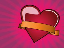 Free Valentine Day Background With Heart And Ribbon Royalty Free Stock Photo - 18100165