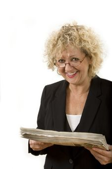 Free Curly Blonde Bestaged Female With Newspaper Royalty Free Stock Photography - 18100317
