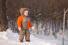 Adorable Baby Stay Near Ski Protection Fence Stock Images