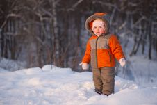 Cute Adorable Baby Stay Near Mountain Side Royalty Free Stock Photography