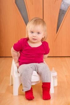 Baby Sit On Baby Toilet Stock Photos