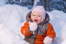 Free Adorable Baby Try To Eat Cold Snow Royalty Free Stock Photo - 18100805