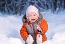 Adorable Baby Disappointed After Eat Cold Snow Royalty Free Stock Photography