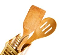 Free Set Of Kitchen Utensils Made Of Bamboo, Isolated Royalty Free Stock Image - 18100836