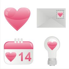 Free St. Valentine S Day Icons Royalty Free Stock Photography - 18101147