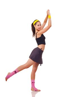 Free Young Girl Doing Exercises Royalty Free Stock Image - 18101896