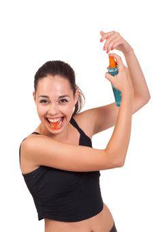 Girl With Spray Stock Photos