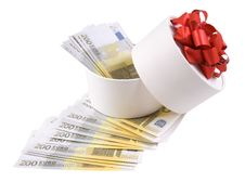 Free White Round Box Full Of Banknotes Stock Photography - 18103022