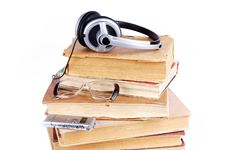 Free Books And Headsets Stock Images - 18103194