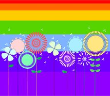 Flowers And Rainbow Stock Image