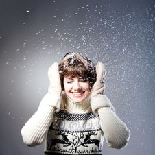 Free Young Beautiful Girl Rejoices To Snow Royalty Free Stock Photos - 18104708